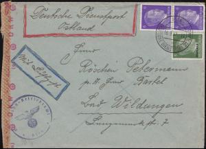 Deutsche Dienstpost Ostland RIGA 16.9.43 Bf. mit BS Eisenbahn-Betriebsdirektion