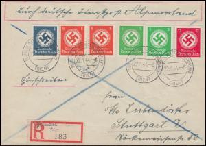 Deutsche Dienstpost Alpenvorland TRIENT R-Brief 22.1.44 mit Dienstmarken-MiF