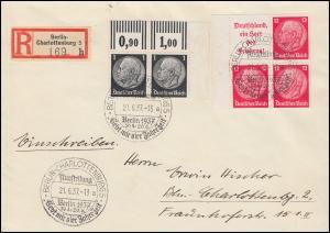 512 W OR Hindenburg ER-Paar mit ZD W 67 als Rand-Vbl. Brief SSt BERLIN 21.6.37