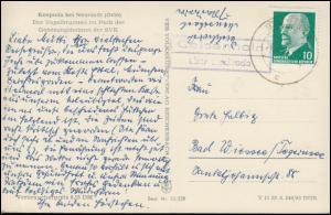 Landpost-Stempel Geisenhain über STADTRODA 24.8.62 auf Vogelbrunnen / Kospoda