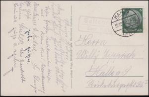 Landpost-Stempel Seitenroda über KAHLA LAND 16.10.36 auf AK Leuchtenburg / Kahla