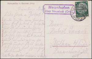 Landpost-Stempel Neunhofen über NEUSTADT (ORLA) 8.8.35 auf AK Harrasmühle