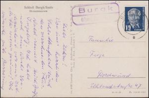 Landpost-Stempel Burgk über Schleiz 1953 auf AK Schloß Burgk/Saale Heimatmuseum