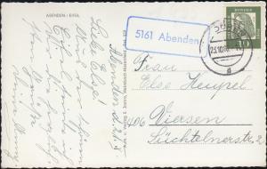 Landpost-Stempel 5161 Abenden auf passender AK, DÜREN 23.10.1962 nach Viersen