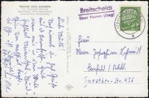 Landpost-Stempel Breitscheidt über HAMM (SIEG) 16.7.59 auf AK Pension Elisabeth