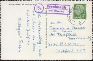 Landpost-Stempel Weckbach über Miltenberg, AK Miltenberg, ASCHAFFENBURG 27.8.57