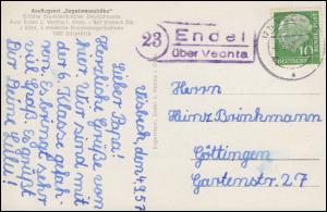 Landpost-Stempel Endel über VECHTA 6.9.1957 auf AK Ausflugsort Engelmannsbäke
