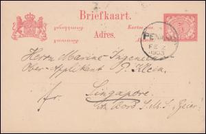 Niederländisch Indien Postkarte Ziffer 5 Cent von PENANG 2.2.1903 nach Singapur