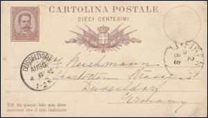 Italien Postkarte P 6 König Humbert I. von FIRENZE 2.8.82 nach DÜSSELDORF 4.6.82