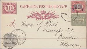 Italien Postkarte P 5 II mit Zusatzfrankatur aus Modena nach BREMEN 11.5.78