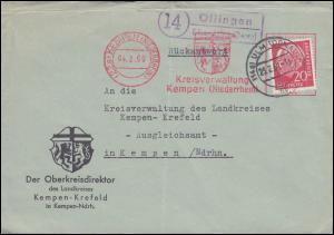 Landpost-Stempel Öllingen über ULM (DONAU) 23.3.59 auf Brief AFS Kempen-Krefeld