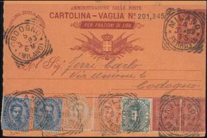 Italien: Postanweisung mit Zusatzfrankatur MILANO 4.3.1893 nach CODOGNO 5.3.93