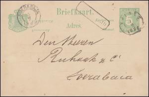 Niederländisch Indien Postkarte Ziffer 5 Cent MALANG 1.9.88 nach SOERABAJA 2.9.