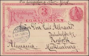Guatemala Ganzsache Postkarte 3 Cent. Quetzaltenango 14.11.1896 über Guatemala