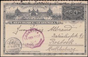 Guatemala Ganzsache Antwort-Postkarte 3 Cent. Quetzaltenango 15.2.1897