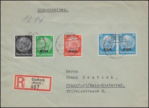 Elsaß 1+5+9 Hindenburg mit Aufdruck + 512A MiF auf R-Brief GLADBECK 26.10.40