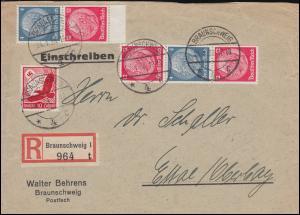 Hindenburg-Zusammendrucke S 163 und S 164 MiF mit 530 R-Bf. BRAUNSCHWEIG 24.1.38