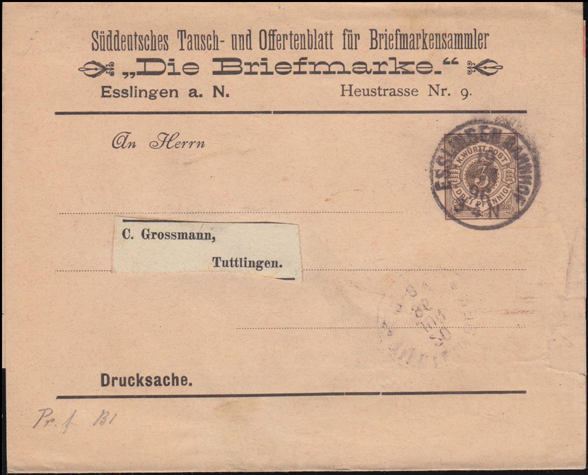 Württemberg PS 2 Streifband Die Briefmarke ESSLINGEN-BAHNHOF 19.6.1896 0