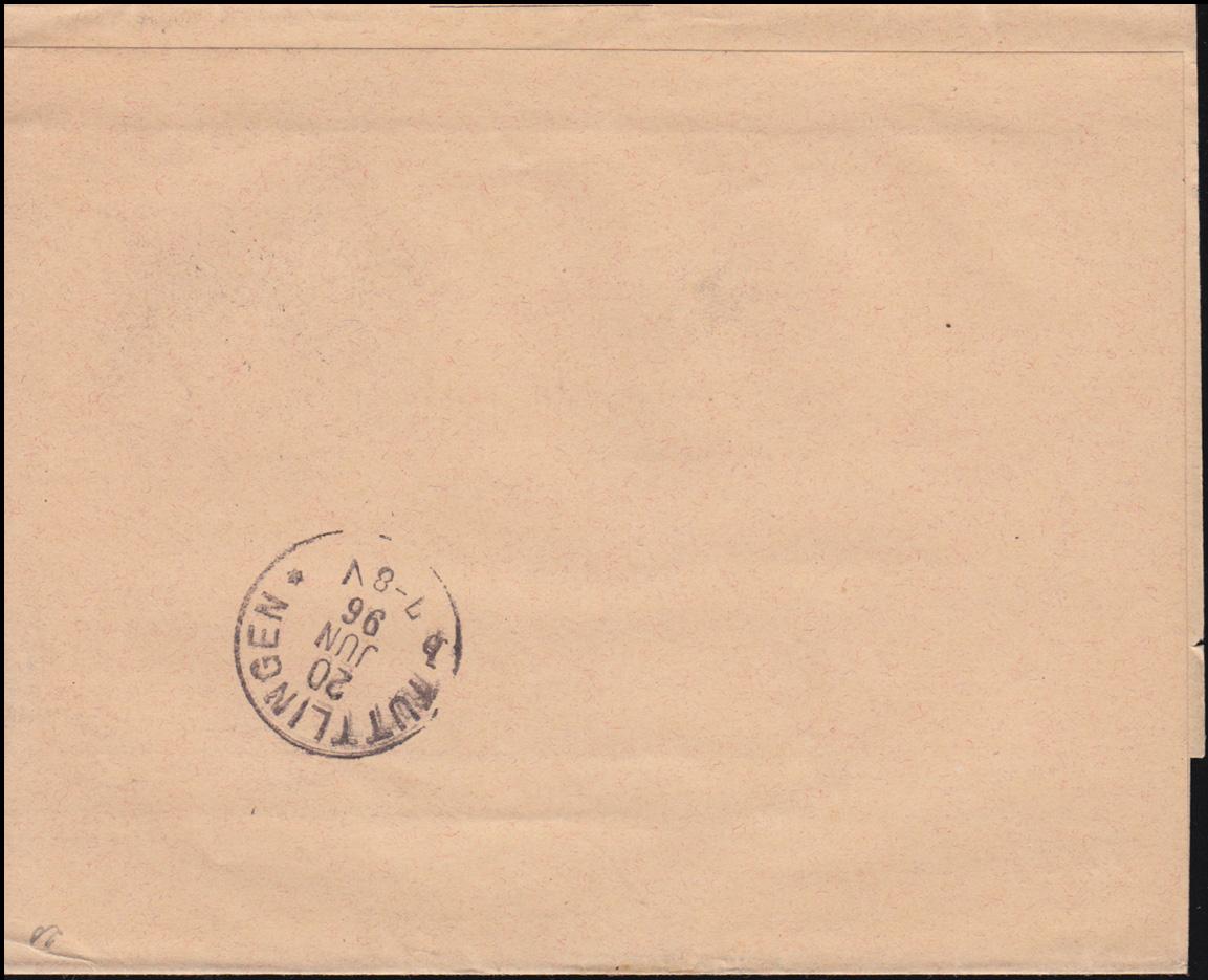 Württemberg PS 2 Streifband Die Briefmarke ESSLINGEN-BAHNHOF 19.6.1896 1
