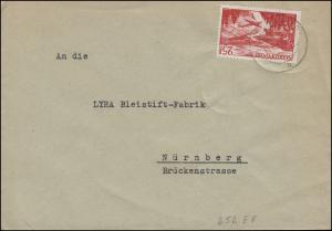 252 Flugpostmarke 25 Fr. als EF auf Brief ILLINGEN 15.10.1949 nach Nürnberg