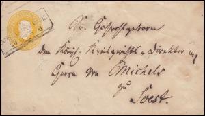 Preußen Umschlag 3 Silbergroschen gelb, Rahmenstempel HALLE BAHNHOF 6.3.