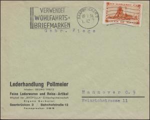 143 Förderschachtanlage 60 C. Bf. Werbe-O SAARBRÜCKEN Wohlfahrtsmarken 19.1.34
