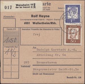 356y Goethe und 361y Droste-Hülshoff MiF auf Paketkarte WALLERTHEIM 4.2.64