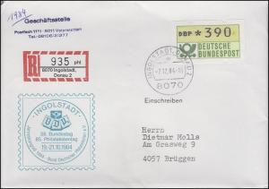 BDPh-Bundestag Schmuck-Brief gedruckter R-Zettel, INGOLSTADT 7.12.1984