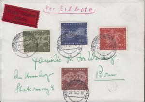332-335 Olympia Rom 1960, Satz auf Eil-Brief HINTERZARTEN 25.11.1960 nach BONN