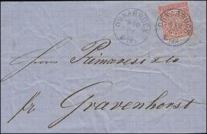 Norddeutscher Bund 4 Ziffer 1 Groschen EF Bf. OSNABRÜCK 8.10.68 nach Gravenhorst