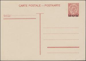 Luxemburg Postkarte P 8 Wappen 1 F mit Aufdruck Rpf, ungebraucht **
