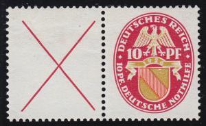 Nothilfe-Zusammendruck W 24.1 Landeswappen Baden, ungefaltet, Falzrest *