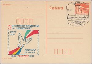 P 86II Briefmarkenausstellung der Freundschaft mit Polen SSt ZEITZ 30.9.1989