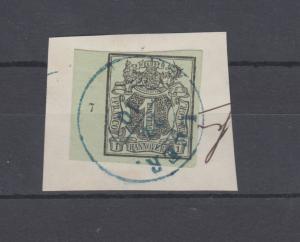 Hannover 2 Freimarke 1 Ggr. linkes Randstück mit Reihenzähler 7, Briefstück LEER