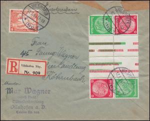 Hindenburg-ZD 2mal KZ 17 im 8er-Block mit 593 MiF R-Brief VILSHOFEN 17.3.34