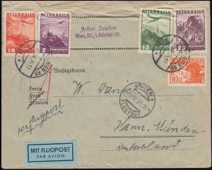 472 Flugpostmarke mit 598ff Flugzeuge auf Lp.-Brief WIEN FLUGPOST 30.4.36