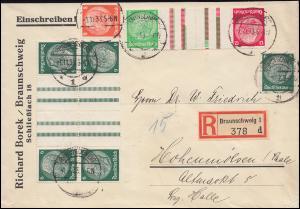 Hindenburg-ZD 2mal KZ 18 im 8er-Block und KZ 17 auf R-Brief BRAUNSCHWEIG 1.11.33
