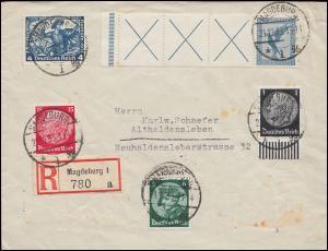 Flugpost-Zusammendruck RL 15.2 mit Zusatzfr. R-Brief MAGDEBURG 21.12.33