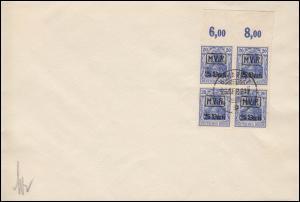 Militärverwaltung Rumänien Nr. 2 als OR-Viererblock auf Vorlage BUKAREST 26.9.17