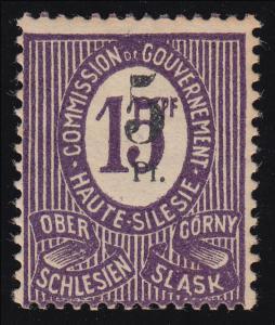 Oberschlesien 10 F Fehlaufdruck 5 auf 15 Pf., mit Falz *, signiert Dr. Müller