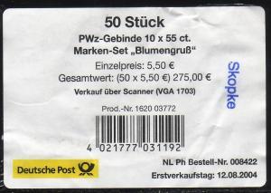 55 Blumengruß - Banderole für 50 Heftchen mit Kontrollnamen: Skopke