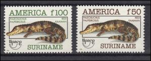 Suriname 1455-1456 Kaiman Paleosuchus 1993, 2 Werte, Satz **