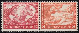 W 55 Nothilfe/Wagner-Zusammendruck 12+8 Pf, ** Fingerspuren