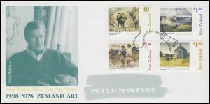 Neuseeland: Moderne Gemälde von Peter McIntyre 1998, 4 Werte auf Schmuck-FDC