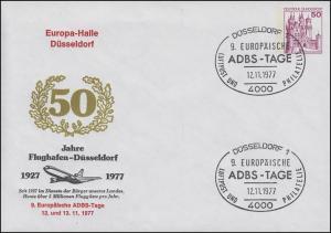 Privatumschlag PU 112/38 Europa-Halle Flughafen SSt DÜSSELDORF ADBS 12.11.1977