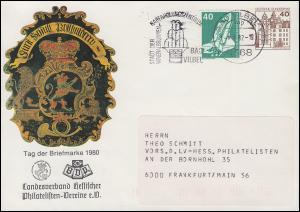 PU 111/39 Tag der Briefmarkle 1980 LV Hessen Posthausschild, BAD VILBEL 8.2.82