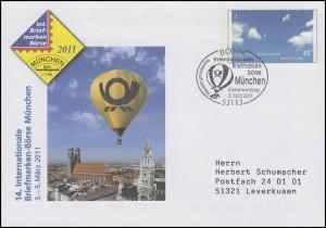 USo 232 Börse München & Die vier Elemente Luft, FDC Erstverwendung Bonn 3.3.2011