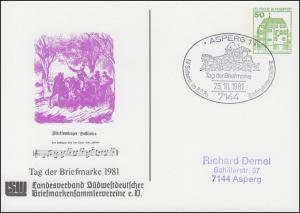 Privatpostkarte PP 104/128 Tag der Briefmarke Postlied SSt ASPERB 25.10.1981