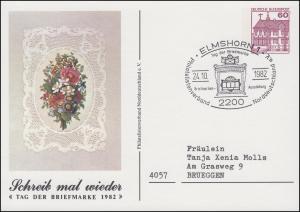 Privatpostkarte PP 106/96 Tag der Briefmarke Blumen SSt ELMSHORN 24.10.1982