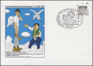 Privatumschlag Münchner Briefmarkentage SSt MÜNCHEN Karlstadt+Valentin 16.3.2000
